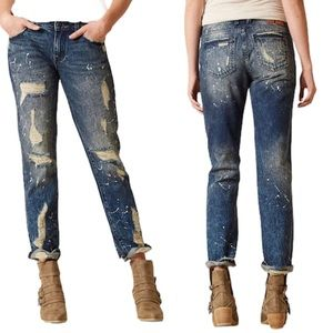 Rock Revival Distressed slouchy straight jeans